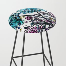 Purple floral watercolor abstraction Bar Stool