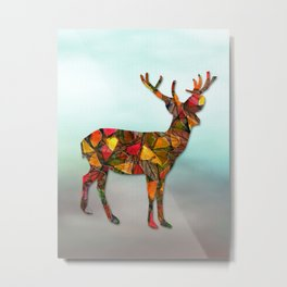 Animal Mosaic - The Deer Metal Print