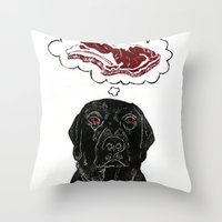 marley Throw Pillows featuring Marley Dreams of Meat by minouette