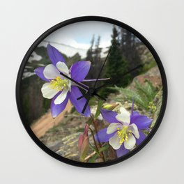 Watercolor Flower, Columbine 06, Fall River Road, RMNP, Colorado Wall Clock