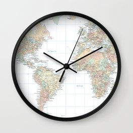 Clear World Map Wall Clock