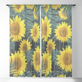 Tropical Sunflower Jungle Night Leaves Pattern #1 #tropical #decor #art #society6 Sheer Curtain
