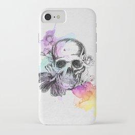 Skull flowers iPhone Case
