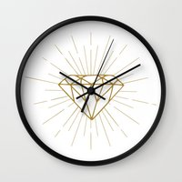 diamond Wall Clocks featuring Diamond by Hipster