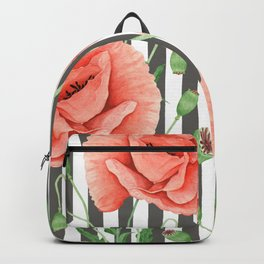 Red Poppies Grey stripes Backpack