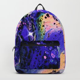 Galactic Sparkle Acrylic Pour Painting Backpack
