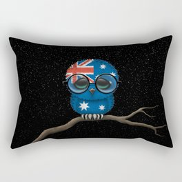 Baby Owl with Glasses and Australian Flag Rectangular Pillow