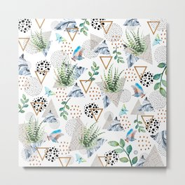 Geometric with cactus and butterflies Metal Print