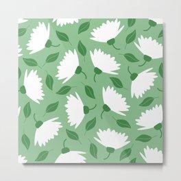 Big spring flowers on pastel green pattern Metal Print