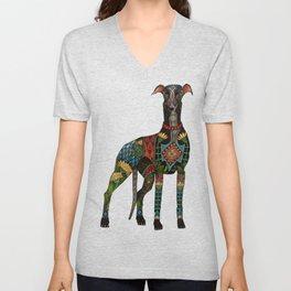 greyhound ivory Unisex V-Neck