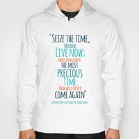 "picard Hoodies featuring ""Live now; make now always the most precious time. Now will never come again"" Captain Picard by Elizabeth Cakovan"