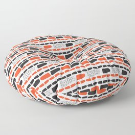 Red and Black Abstract Stripes Cryptic Shapes Floor Pillow