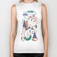 camp Biker Tanks featuring Bear camp by Demi Goutte