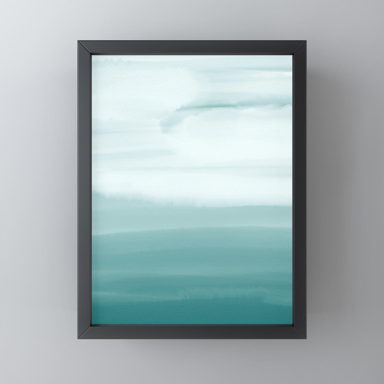 Ocean Sky Surf Waves Teal Blue Green