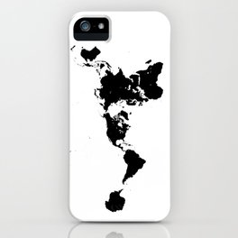 Dymaxion World Map (Fuller Projection Map) - Minimalist Black on White iPhone Case