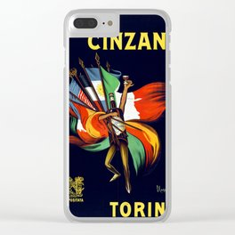 Vintage poster italian Bitter Cinzano Clear iPhone Case