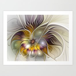 Abstract Fantasy Flower Fractal Art Art Print