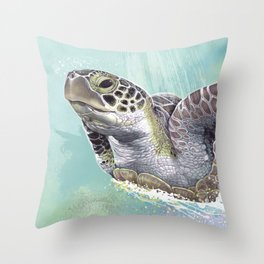 Green Sea Turtle Rides The Waves Throw Pillow