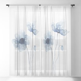 Blue Watercolor Poppies Sheer Curtain