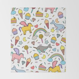 Pegasuses, Narwhals & Sugary Treats Throw Blanket