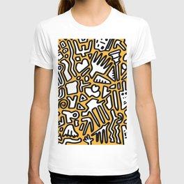 black doodle on orange T-shirt