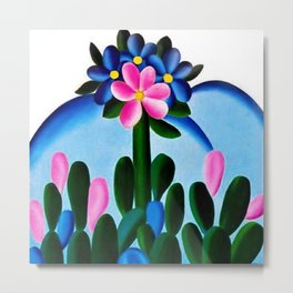 Classical Masterpiece 'Manacá' Desert Bluebell Flowers by Tarsila do Amaral Metal Print
