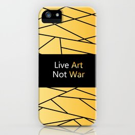 "Gold Fractal Art with black Sign ""Live Art Not War"" ( Luxury Vintage Collection ) iPhone Case"