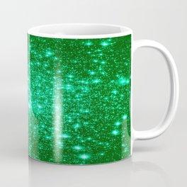 Emerald Green Glitter Stars Coffee Mug
