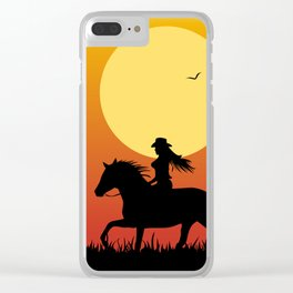 Riding Under a Harvest Moon Clear iPhone Case