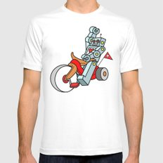 Hot Wheeling Robot Love White MEDIUM Mens Fitted Tee