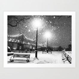New York City Night Snow Kunstdrucke