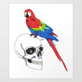 Parrot and Skull Art Print