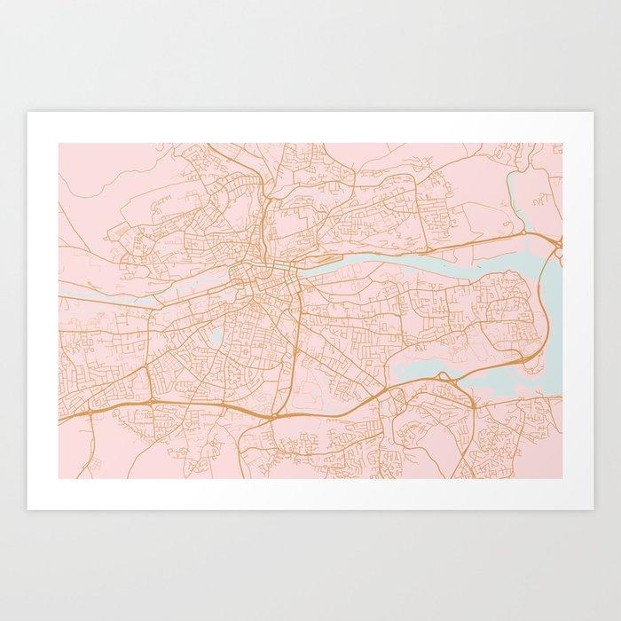 Pink Cork map, Irealnd Kunstdrucke