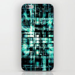 Green Geometric Cubes In Motion iPhone Skin