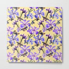 Irises and Butterflies Metal Print
