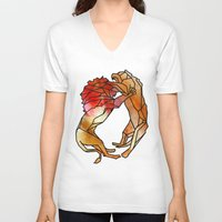 lions V-neck T-shirts featuring Lions by madbiffymorghulis