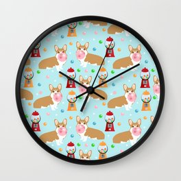 Corgi bubblegum cute pet portrait custom dog breed art pattern by pet friendly Wall Clock
