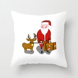 Travel Santa Throw Pillow