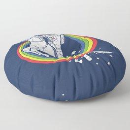 Astronaut riding a unicorn Floor Pillow