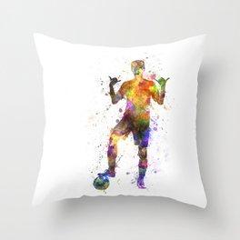 soccer football player young man saluting Throw Pillow