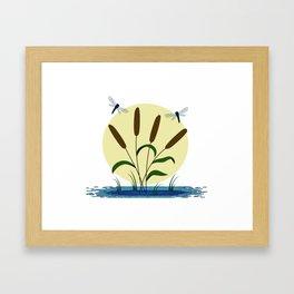 Cattails and Dragonflies Framed Art Print