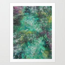 A galactic ocean -Green- Cosmic Painting Art Art Print