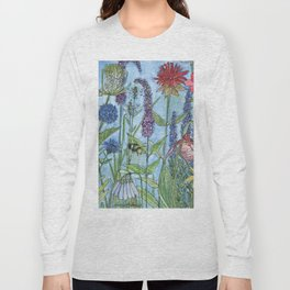 Watercolor Garden Flower Botanical Wildflowers Lady Slipper Orchid Long Sleeve T-shirt