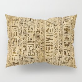 Egyptian hieroglyphs on papyrus Pillow Sham
