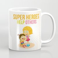 super heroes Mugs featuring Super Heroes Help Others by youngmindz