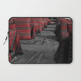 Black and white image with partial colour of red Bedouin cushions Laptop Sleeve