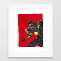 evangelion Framed Art Prints featuring Evangelion Unit 01 by Megan