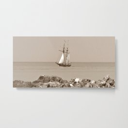 Tall ship sailing sepia finish Metal Print