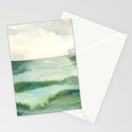 Emerald Sea Watercolor Print Stationery Cards
