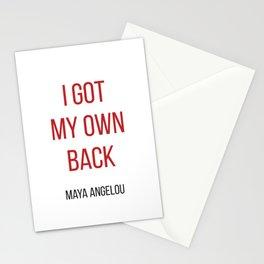 I GOT MY OWN BACK - MAYA ANGELOU Stationery Cards